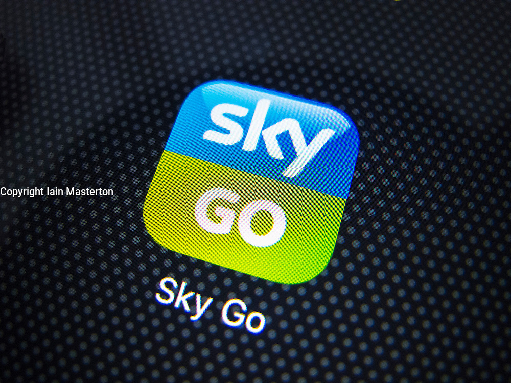Detail of icon for Sky Go app on an iPhone screen