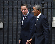 United States President Barak Obama arrives at 10 Downing Street in London and is welcomed by British Prime Minister David Cameron.<br /> Picture by Andrew Timms/Focus Images Ltd +44 7917 236526<br /> 22/04/2016
