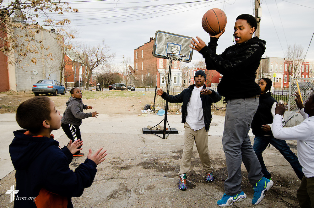 Children play basketball near St. Thomas Lutheran Church in Baltimore, Md, on Thursday, March 28, 2014. LCMS Communications/Erik M. Lunsford