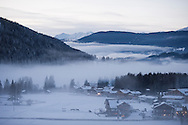 The village of Moos at dusk. Dolomiti di Sesto (Sexten Dolomites), Südtirol (South Tyrol), Italy (February 2016) © Rudolf Abraham