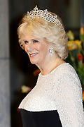 Afscheidsdiner Koningin Beatrix in Rijksmuseum. Het afscheidsdiner wordt gehouden in de Eregalerij van het 2 weken geleden door de koningin heropende museum. <br /> <br /> Farewell Dinner Queen Beatrix at Rijksmuseum. The farewell dinner will be held in the Hall of Fame of two weeks ago reopened by the Queen museum.<br /> <br /> Op de foto / On the Photo:  Camilla, hertogin van Cornwall / Camilla, Duchess of Cornwall