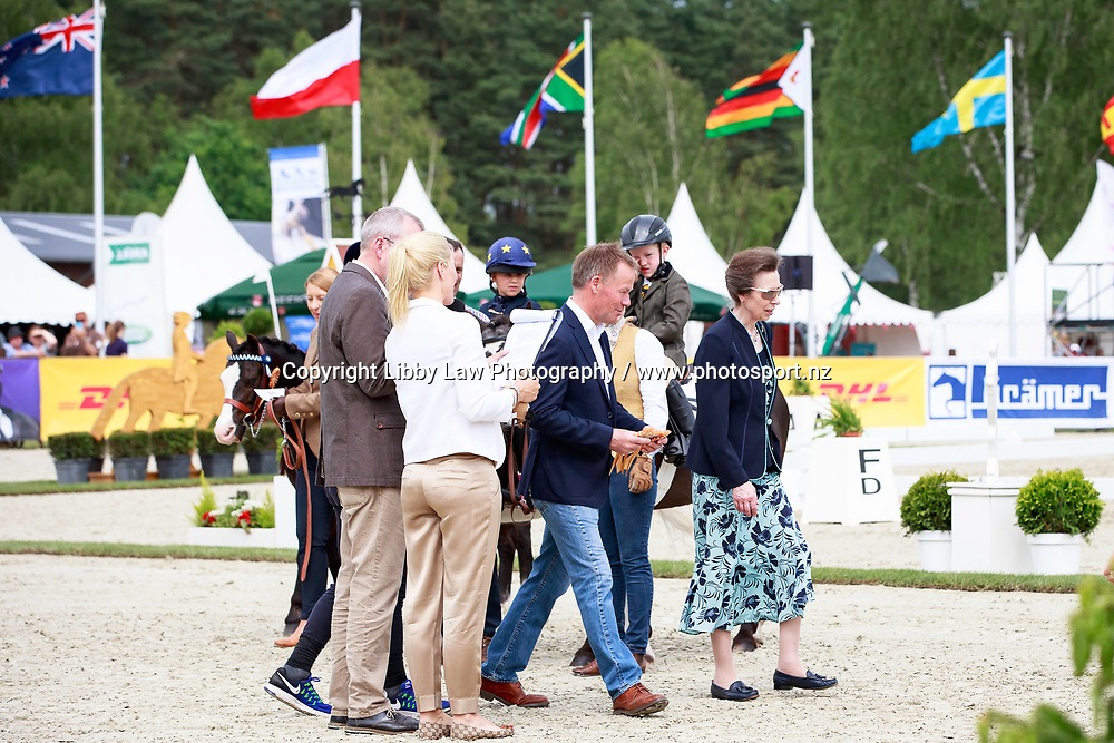 Patron, HRH The Princess Royal, Princess Ann is welcomed by Michael Jung, with a fun display from some Junior Riders during the 1st day of Dressage, CCI4* Presented by DHL, at the 2017 Luhmühlen International Horse Trial. Thursday 15 June. Copyright Photo: Libby Law Photography