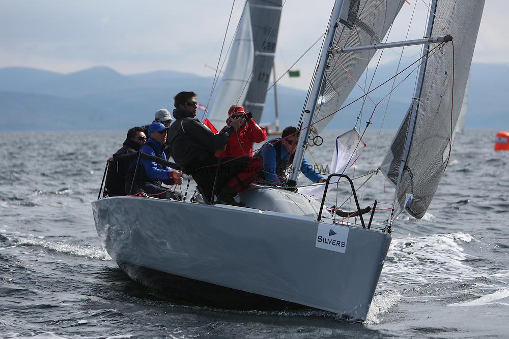 The Silvers Marine Scottish Series 2014, organised by the  Clyde Cruising Club,  celebrates it's 40th anniversary.<br /> Day 2 GBR1983C, Wildebeest IV, Craig Latimer, RWYC, Brenta 24<br /> Racing on Loch Fyne from 23rd-26th May 2014<br /> <br /> Credit : Marc Turner / PFM