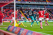Swansea City forward Andre Ayew (22) scores a goal to make the score 0-1 during the EFL Sky Bet Championship match between Barnsley and Swansea City at Oakwell, Barnsley, England on 19 October 2019.