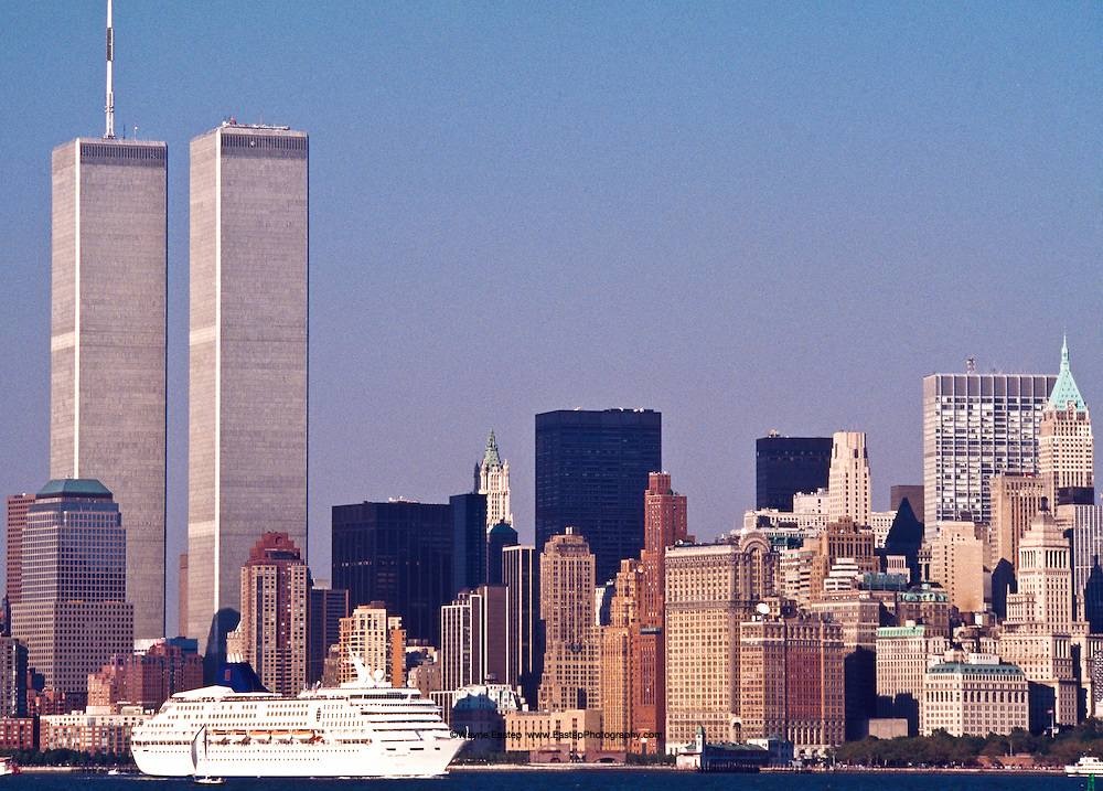 Cruise Ship passing by The World Trade Center, Hudson river, New York, NY