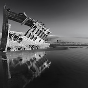 Peter Iredale Shipwreck Reflection Wide - Sunset - Oregon Coast - HDR - Infrared Black & White