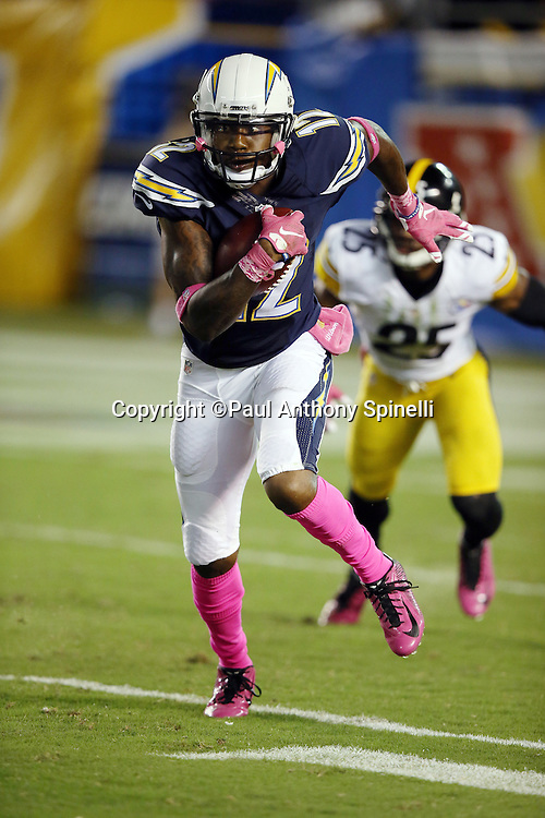 San Diego Chargers kick returner Jacoby Jones (12) returns a third quarter kick during the 2015 NFL week 5 regular season football game against the Pittsburgh Steelers on Monday, Oct. 12, 2015 in San Diego. The Steelers won the game 24-20. (©Paul Anthony Spinelli)