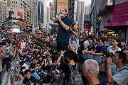Benny Tai talking to the students gathered in Causeway Bay<br /> <br /> Benny Tai Yiu-ting, Associate Professor of Law at the University of Hong Kong and founder of Occupy Central with Love and Peace (OCLP), often abbreviated to Occupy Central, a nonviolent occupation protest for universal suffrage in Central, Hong Kong<br /> <br /> For second day of pro-democracy demonstrations tens of thousands of protesters were occupying several key areas of Hong Kong, in a show of force aimed at convincing Beijing to give Hongkongers true democracy.