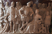 Scene of Benvenuto Cellini with Diane de Poitiers, from a large Sevres porcelain vase made 1832 in Renaissance style, representing the legends of Fontainebleau, in the Guard Room at the Chateau de Fontainebleau, France. The Palace of Fontainebleau is one of the largest French royal palaces and was begun in the early 16th century for Francois I. It was listed as a UNESCO World Heritage Site in 1981. Picture by Manuel Cohen