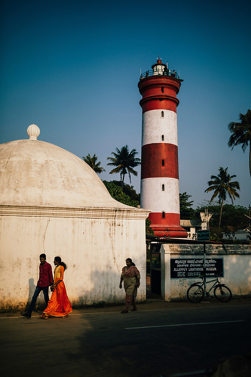 Alleppey, India -- February 18, 2018: The lighthouse near Alleppey Beach.