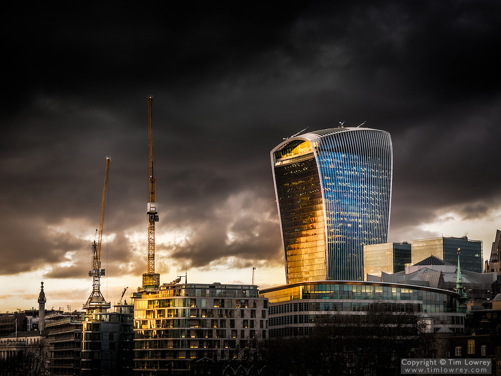 20 Fenchurch Street, designed by architect Rafael Viñoly with a Dramatic Sky