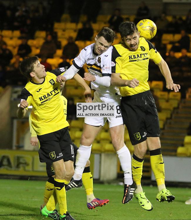 Grant Gallagher heads for goal during the Livingston v Dumbarton  Scottish Championship  19  December 2015 <br /> <br /> (c) Andy Scott | SportPix.org.uk