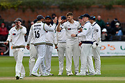 Wicket - Ben Coad of Yorkshire celebrates taking the wicket of Marcus Trescothick of Somerset during the third day of the Specsavers County Champ Div 1 match between Somerset County Cricket Club and Yorkshire County Cricket Club at the Cooper Associates County Ground, Taunton, United Kingdom on 29 April 2018. Picture by Graham Hunt.