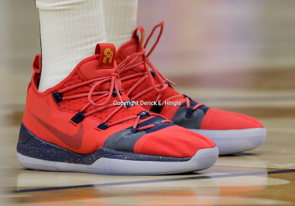 Nov 26, 2018; New Orleans, LA, USA; Shoes worn by New Orleans Pelicans forward Anthony Davis (23) against the Boston Celtics during the first quarter at the Smoothie King Center. Mandatory Credit: Derick E. Hingle-USA TODAY Sports