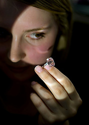 © licensed to London News Pictures. 04/05/2011. London, UK. An important pink diamond weighing 10.99 carats with an estimated sale value of $9 to 16 million on show at Sotheby's as part of the upcoming Sale of Magnificent and Noble Jewels. The auction, which will take place on May 17th offers Jewels that have not been on the open market for 30 years. Please see special instructions for usage rates. Photo credit should read Ben Cawthra/LNP