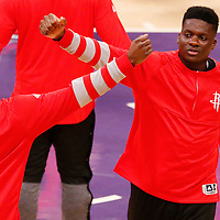 26 October 2016: Houston Rockets center Clint Capela (15) is seen with Houston Rockets guard James Harden (13) during the players introduction prior to the Los Angeles Lakers 120-114 victory over the Houston Rockets, at the Staples Center, Los Angeles, California, USA.