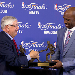Jun 9, 2013; Miami, FL, USA; Chauncey Billups (right) is awarded the inaugural Twyman-Stokes Teammate of the Year Award trophy honoring best teammate in the NBA during by commissioner David Stern during a press conference prior to game two of the 2013 NBA Finals at American Airlines Arena. Mandatory Credit: Derick E. Hingle-USA TODAY Sports