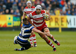 Bath's Shaun Knight and Gloucester's Mariano Galarza during the Aviva Premiership match at the Recreation Ground, Bath.