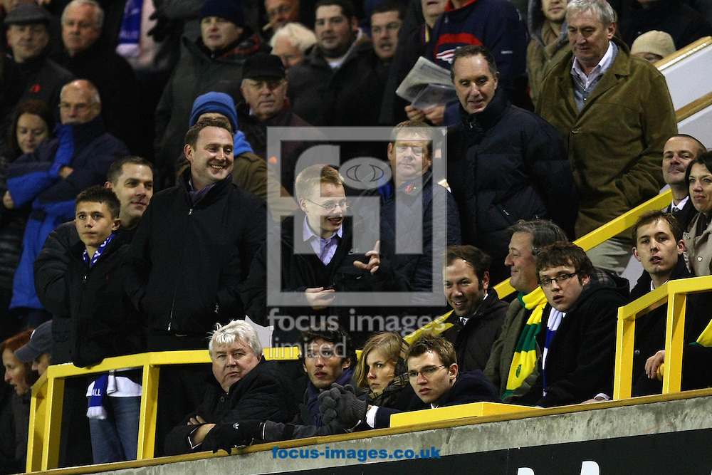 London - Tuesday November 9th, 2010: Cheeky Millwall fans tease Stephen Fry after their last minute equaliser during the Npower Championship match at The New Den, London. (Pic by Paul Chesterton/Focus Images)