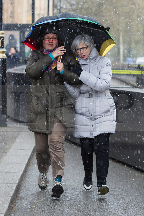 © Licensed to London News Pictures. 29/04/2016. Tourists are caught in a short rain and snow shower near Westminster in central London today.  Photo credit: Vickie Flores/LNP