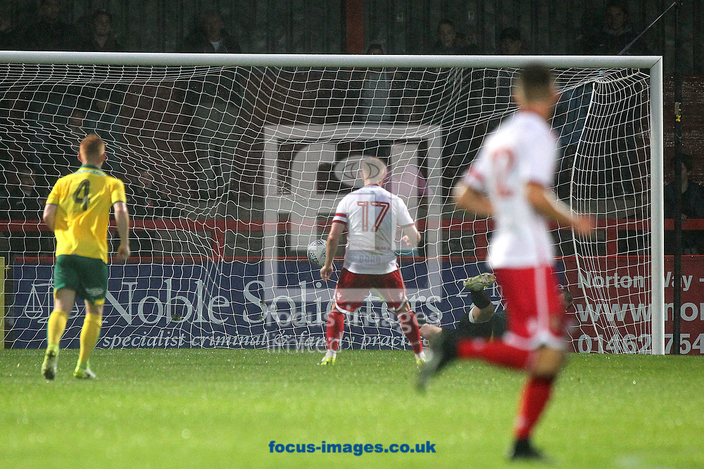 Dale Gorman of Stevenage scores his sides 2nd goal from the penalty spot during the Pre-season Friendly match at the Lamex Stadium, Stevenage<br /> Picture by Paul Chesterton/Focus Images Ltd +44 7904 640267<br /> 11/07/2017