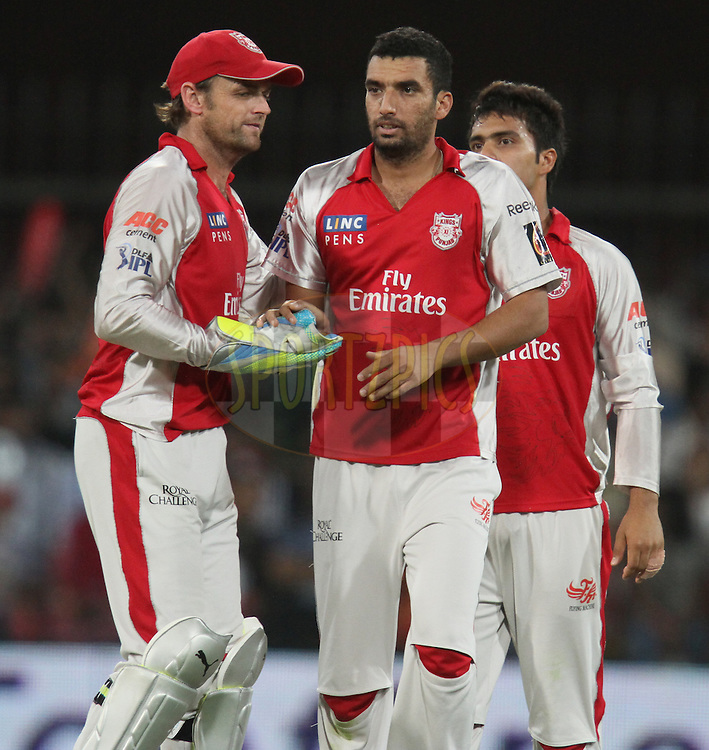 Bipul Sharma (R) of Kings XI Punjab being congratulated  for taking the wicket of Brendon McCullum of Kochi Tuskers Kerala during match 57 of the Indian Premier League ( IPL ) Season 4 between the Kochi Tuskers Kerala and the Kings XI Punjab held at the Holkar Stadium in Indore, Madhya Pradesh, India on the 13th May  2011...Photo by Parth Sanyal/BCCI/SPORTZPICS