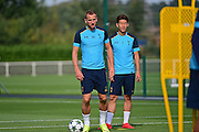 Harry Kane and Heung-Min Son during a Tottenham Training Session at Tottenham Training Centre, Enfield, United Kingdom on 13 September 2016. Photo by Jon Bromley.