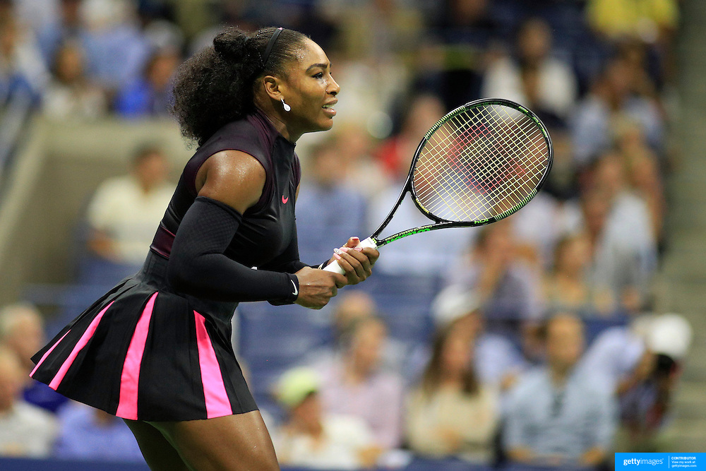 2016 U.S. Open - Day 11  Serena Williams of the United States in action against Karolina Pliskova of the Czech Republic in the Women's Singles Semifinal match on Arthur Ashe Stadium on day eleven of the 2016 US Open Tennis Tournament at the USTA Billie Jean King National Tennis Center on September 8, 2016 in Flushing, Queens, New York City.  (Photo by Tim Clayton/Corbis via Getty Images)