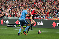 October 08, 2016: Western Sydney Wanderers defender Brendan HAMILL (5) tries to get past Sydney FC forward Filip HOLOSKO (21) at Round 1 of the 2016 Hyundai A-League match, between Western Sydney Wanderers and Sydney FC, played at ANZ Stadium in Sydney. Sydney FC won the game 4-0.