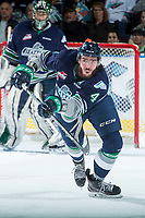 KELOWNA, CANADA - APRIL 25: Turner Ottenbreit #4 of the Seattle Thunderbirds passes the puck against the Kelowna Rockets on April 25, 2017 at Prospera Place in Kelowna, British Columbia, Canada.  (Photo by Marissa Baecker/Shoot the Breeze)  *** Local Caption ***