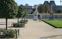 Tuileries gardens, Louvre buildings in background, Paris, France<br />