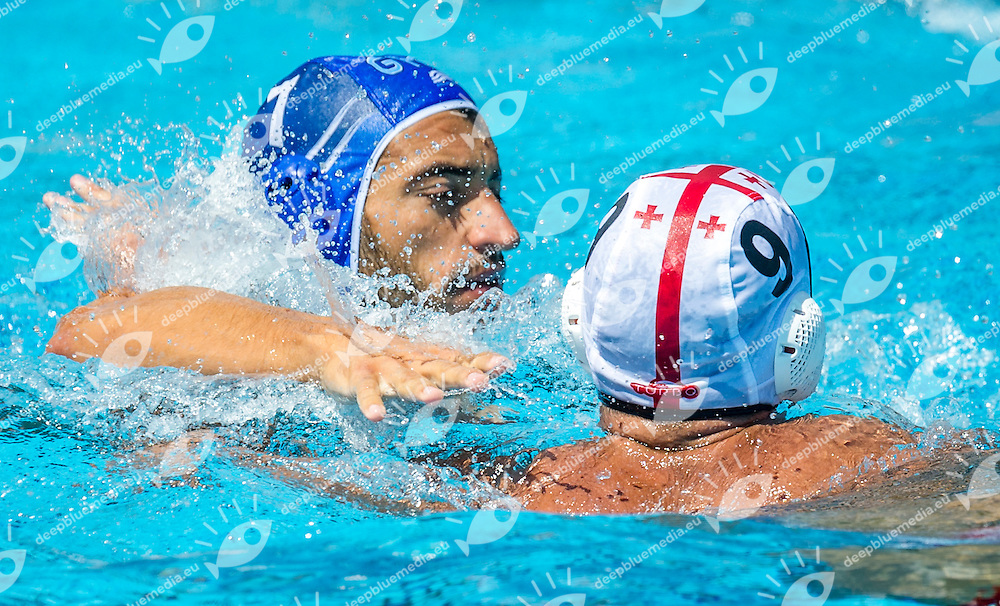 7 AFROUDAKIS C. (C) GRE<br /> 9 RURUA Zurab GEO<br /> Georgia (White) Vs Greece (Blue)<br /> LEN European Water Polo Championships 2014<br /> Alfred Hajos -Tamas Szechy Swimming Complex<br /> Margitsziget - Margaret Island<br /> Day02 - July 14 <br /> Photo Pasquale Mesiano/Inside/Deepbluemedia
