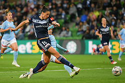 November 16, 2018 - Melbourne, Victoria, Australia - EMILY GIELNIK (15) of Melbourne Victory kicks for goal and scores in round 3 of the W-League competition between Melbourne City and Melbourne Victory during the 2018 season at AAMI Park, Melbourne, Australia. The Westfield W-League is Australia's national women's semi-professional soccer league. Melbourne Victory won 2-0. (Credit Image: © Sydney Low/ZUMA Wire)