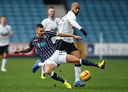 Millwall's Ryan Fredericks on loan from Spurs gets an early tackle in on Ipswich Town's David McGoldrick - Photo mandatory by-line: Robin White/JMP - Tel: Mobile: 07966 386802 18/01/2014 - SPORT - FOOTBALL - The Den - Millwall - Millwall v Ipswich Town - Sky Bet Championship