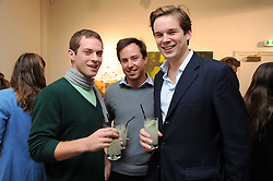 Left to right, SAM KERSHAW, JAMES MURRAY-WELLS and HUGO BRASSEY at an exhibition of Tahnee Lonsdale's paintings held at The Commander, 47 Hereford Road, London on 8th October 2008.