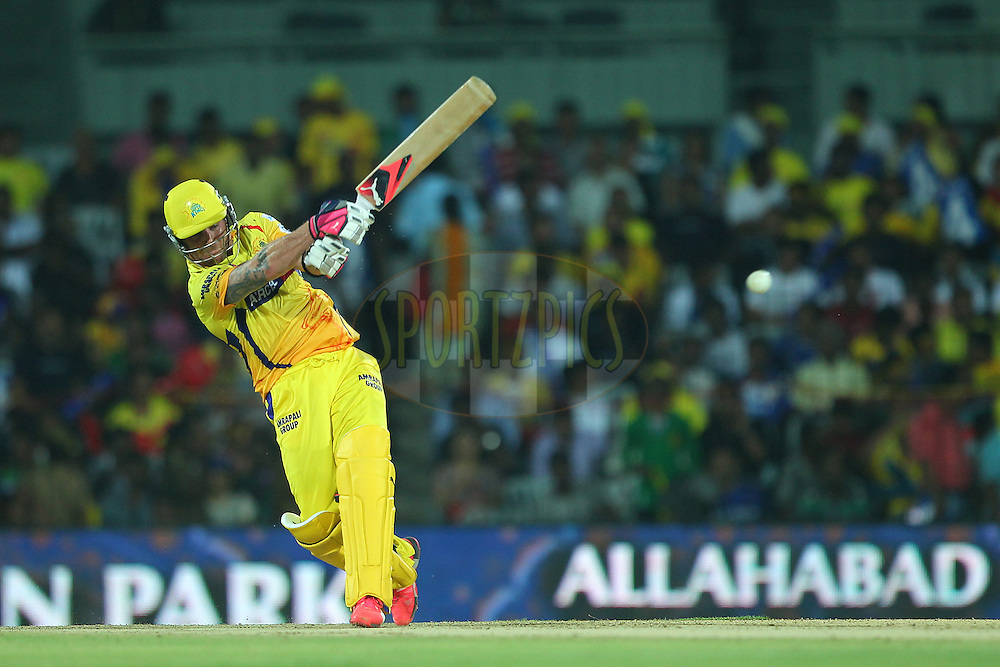 Brendon McCullum of the Chennai Superkings hits down the ground during match 47 of the Pepsi IPL 2015 (Indian Premier League) between The Chennai Superkings and The Rajasthan Royals held at the M. A. Chidambaram Stadium, Chennai Stadium in Chennai, India on the 10th May 2015.<br /> <br /> Photo by:  Ron Gaunt / SPORTZPICS / IPL