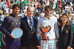 MONTE-CARLO, MONACO - Sunday, April 18, 2010: Rafael Nadal (ESP) with the trophy and Prince Albert II after winning the the Men's Singles Final 6-0, 6-1 over Fernando Verdasco (ESP) on day seven of the ATP Masters Series Monte-Carlo at the Monte-Carlo Country Club. This was Nadal's sixth straight victory in the tournament, setting a record for the most Masters Series consecutive victories at a single tournament by any player. (Photo by David Rawcliffe/Propaganda)