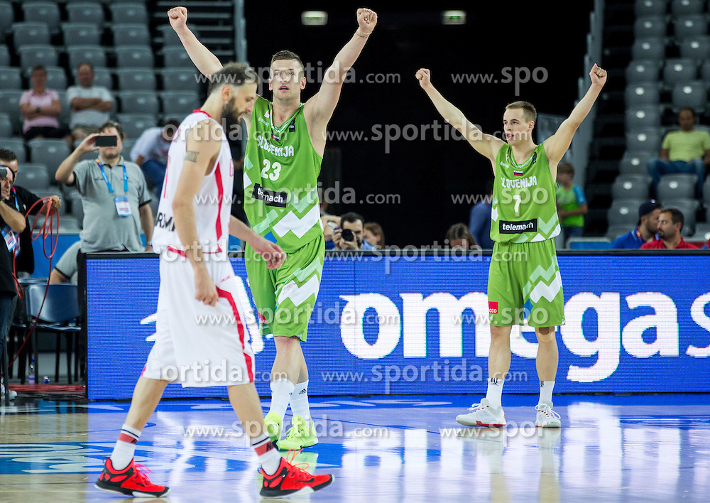 Alen Omic of Slovenia and Klemen Prepelic of Slovenia celebrate after winning during basketball match between Slovenia and Georgia at Day 2 in Group C of FIBA Europe Eurobasket 2015, on September 6, 2015, in Arena Zagreb, Croatia. Photo by Vid Ponikvar / Sportida
