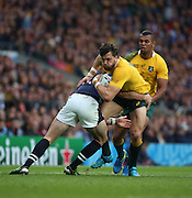 Australia's Adam Ashley-Cooper getting tackled after a period of Australian pressure during the Rugby World Cup Quarter Final match between Australia and Scotland at Twickenham, Richmond, United Kingdom on 18 October 2015. Photo by Matthew Redman.