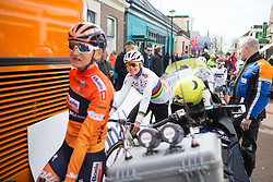 Amalie Dideriksen (DEN) of Boels-Dolmans Cycling Team approaches the start of Stage 1b of the Healthy Ageing Tour - a 77.6 km road race, starting and finishing in Grijpskerk on April 5, 2017, in Groeningen, Netherlands.