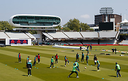 Pakistan players during the nets session at Lord's, London.