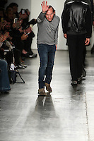 Custo Dalmau greets the audience after presenting his Custo Barcelona Fall 2016 20th Anniversary Collection during New York Fashion Week on February 14, 2016