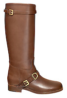 ralph lauren brown leather boot with gold buckle