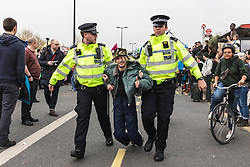 © Licensed to London News Pictures. 16/04/2019. London, UK. Protesters from the Extinction Rebellion group are arrested and removed from Waterloo Bridge from police. The protesters are demanding urgent action from governments on climate change. Photo credit: Rob Pinney/LNP