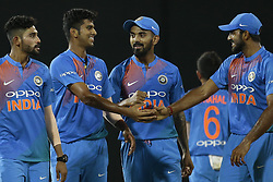 March 14, 2018 - Colombo, Sri Lanka - Indian cricketer Washington Sundar (2L) congratulated by his team members during the 5th Twenty-20 cricket match of NIDAHAS Trophy between Bangladesh and India at R Premadasa cricket ground, Colombo, Sri Lanka on Wednesday 14 March 2018. (Credit Image: © Tharaka Basnayaka/NurPhoto via ZUMA Press)