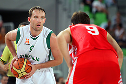 Samo Udrih of Slovenia at friendly match between Slovenia and Croatia for Adecco Cup 2011 as part of exhibition games before European Championship Lithuania on August 8, 2011, in SRC Stozice, Ljubljana, Slovenia. (Photo by Urban Urbanc / Sportida)