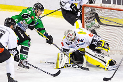22.02.2015, Hala Tivoli, Ljubljana, SLO, EBEL, HDD Telemach Olimpija Ljubljana vs Dornbirner EC, 6. Qualification Round, in picture Ales Music (HDD Telemach Olimpija, #16) vs Nathan Lawson (Dornbirner EC, #52) during the Erste Bank Icehockey League 6. Qualification Round between HDD Telemach Olimpija Ljubljana and Dornbirner EC at the Hala Tivoli, Ljubljana, Slovenia on 2015/02/22. Photo by Matic Klansek Velej / Sportida
