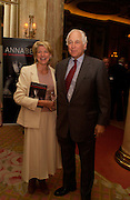 Sir Evelyn and Lady de Rothschild, Annabel, An Unconventional Life. Memoirs of Lady Annable goildsmith. The Ritz. 10 March 2004. ONE TIME USE ONLY - DO NOT ARCHIVE  © Copyright Photograph by Dafydd Jones 66 Stockwell Park Rd. London SW9 0DA Tel 020 7733 0108 www.dafjones.com