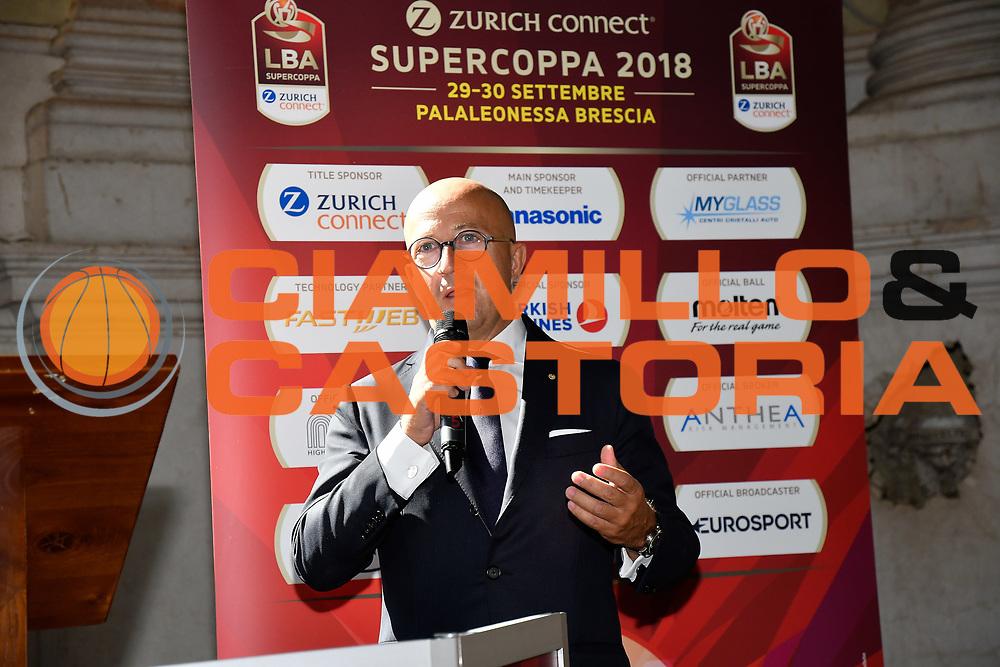 massimo feira<br /> presentazioe supercoppa 2018<br /> Legabasket Serie A 2018/19<br /> Brescia, 24/09/2018<br /> Ciamillo-Castoria
