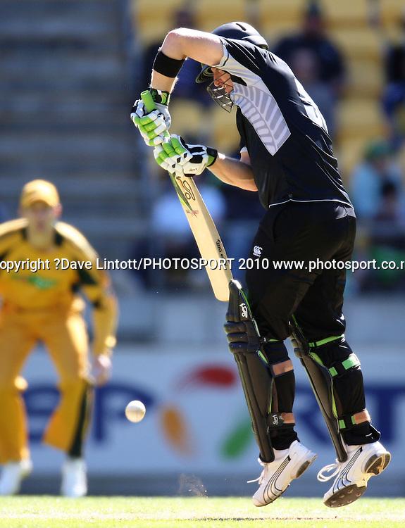 NZ's Scott Styris bats.<br /> Fifth Chappell-Hadlee Trophy one-day international cricket match - New Zealand v Australia at Westpac Stadium, Wellington. Saturday, 13 March 2010. Photo: Dave Lintott/PHOTOSPORT